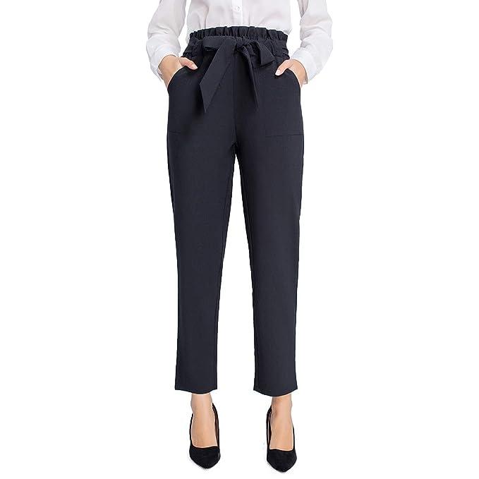 Jtanib High Waisted Paper Bag Pants For Women, Slim Casual Long Pants Trouser With Pockets by Jtanib