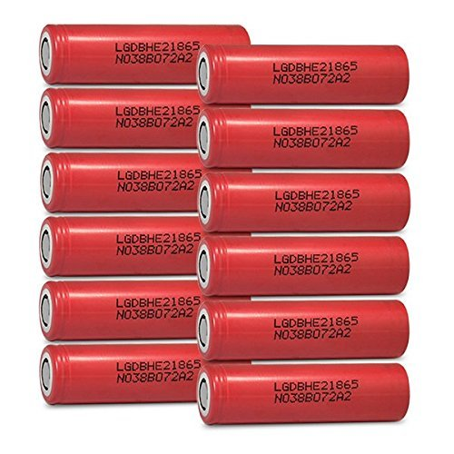 12 LG HE2 18650 2500mAh 20A 3.7v Rechargeable Flat Top Batteries by LG