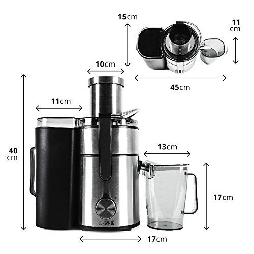 -[ Duronic Juicer JE10 Whole Fruit and Vegetable Juicer Powerful 1000W Large Feeding Tube Centrifug