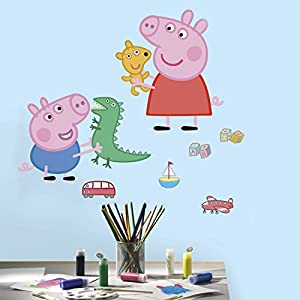 RoomMates Peppa The Pig Peppa andGeorge Playtime Peel And Stick Giant Wall Decals – RMK3185GM