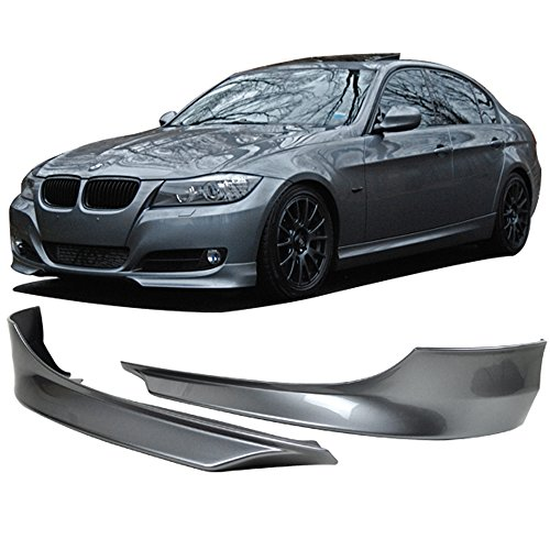 Pre-painted Front Bumper Lip Splitter Fits 2009-2012 BMW E90 3 Series | L Type Painted Space Gray # A52 PP Air Dam Chin Diffuser Front Bumper Lip Other Color Available by IKON MOTORSPORTS | 2010 2011
