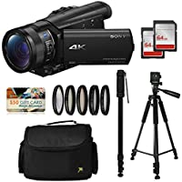 Sony FDR-AX100 4K Ultra HD Camcorder Video Camera Kit, 128GB Memory + Tripod + Monopod + Bag + UV CPL FL ND4 10x Filter Set