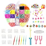 Image of NEFUTRY Colorful Loom Kit, 4800 Rubber Bands, 18 Colors,8 Packs S-clips, 40 Colorful Beads, 1 Big Hook,6 Small Hook,6 Silicon Charms,20 Lovely Charms,1 Monster Tailloom Board, 2 Y-shape Looms