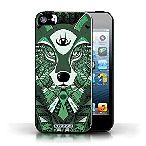 KOBALT? Protective Hard Back Phone Case / Cover for Apple iPhone 5/5S | Wolf-Green Design | Aztec Animal Design Collection