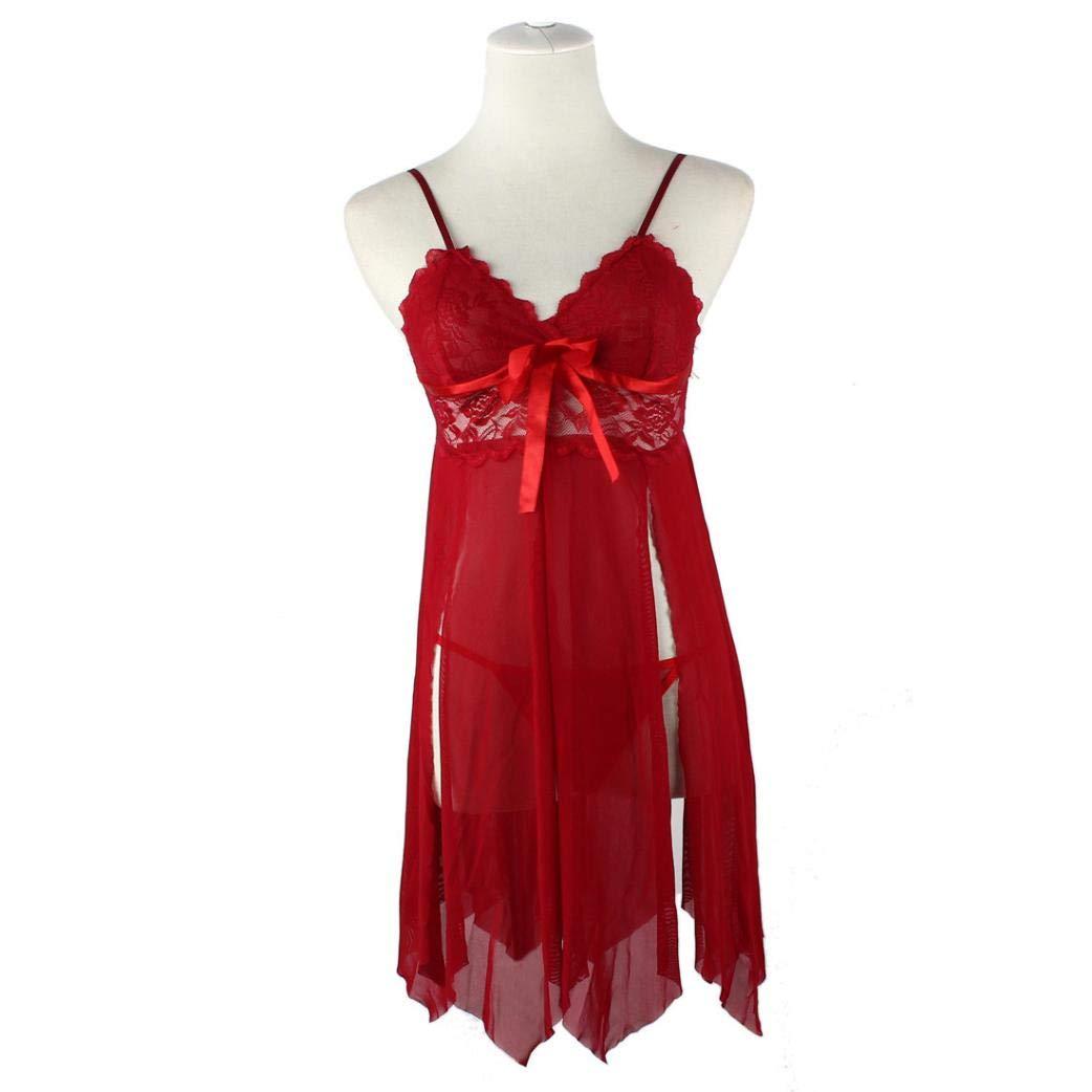 Gusspower Mujer Lencería Sexy Ropa Interior de Mujer Ropa de Dormir Vestido de Encaje G-String Ropa de Dormir Dividir Tenedor Costura Ropa Interior Erótica: ...