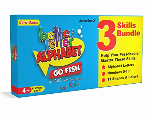 Better Letter Alphabet Go Fish Card Game - Includes: Alphabet Go Fish, Number Go Fish, and Shapes and Colors Go - Alphabet Games Card