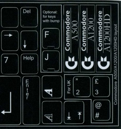 Price comparison product image COMMODORE A500 / A1200 / A1200HD NON-TRANSPARENT KEYBOARD STICKERS BLACK BACKGROUND