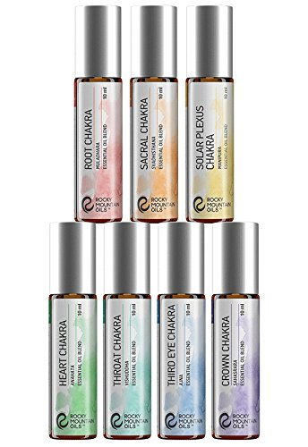 - Rocky Mountain Oils - Chakra Blends Kit - 10 ml - 100% Pure and Natural Essential Oil Kit | Includes Root, Sacral, Solar Plexus, Heart, Throat, Third Eye, and Crown Chakras