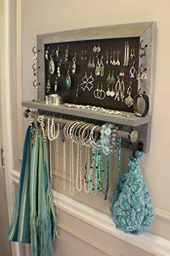 On Sale!!! You Get To Pick The Stain, Mesh and Hook Color, Scroll Trim Series Wall Mounted Jewelry Organizer