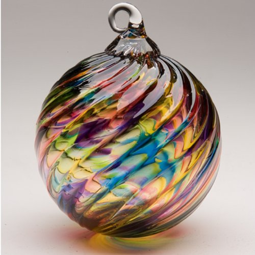 Glass Eye Studio Hand Blown Glass Ornament - Rainbow Twist