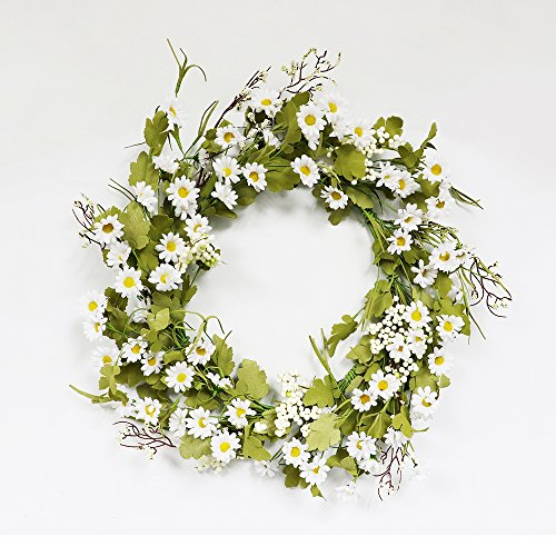 Puleo International 22-inch Artificial Daisy Wreath Potted ()