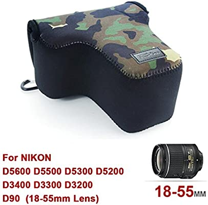 Camuflaje Verde Funda Cámara Reflex Neopreno Protectora para Nikon ...