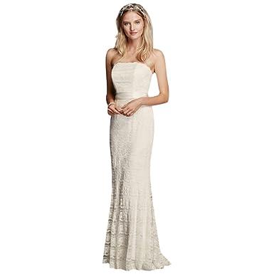 99e785fbb3 Lace Sheath Wedding Dress with Godet Inserts Style VW9340 at Amazon ...