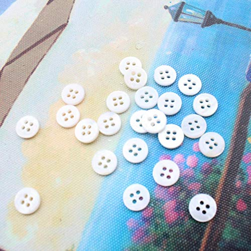 Dalab 500pcs Vintage Mother of Pearl Shell Buttons 16L /10mm Mother of Pearl Buttons 3/8 inch Polished