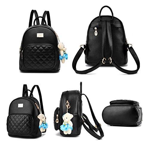 Flada les filles dos d'école pu nounours à de Casual d'ours dos Sacs avec ornements sacs pour à cuir sacs Noir des en qA0xpI8w