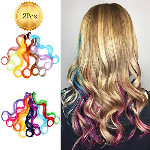 (AliLeader 12 Pcs Curly Multi-Colors Party Highlights Clip on in Hair Extensions Colored Hair Streak. Heat-Resistant Synthetic Multiple Colors Hairpieces for Kids (19Inch))