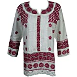 Mogul Womens Indian Tunic Dress Cotton White Red Chikankari Embroidered Top Blouse Shirt