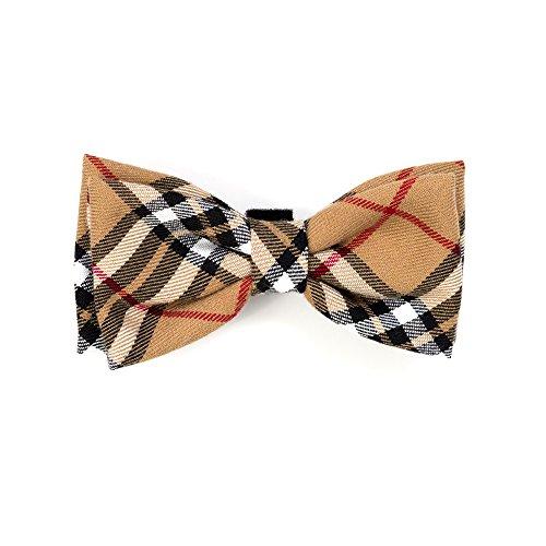 Tan Plaid Bow Tie, Tan, L