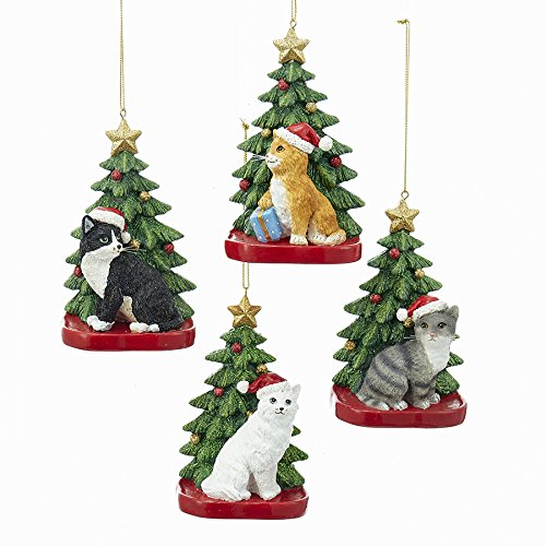 Kurt Adler CAT W/CHRISTMAS TREE ORNAMENT 4A