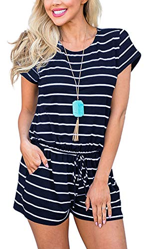 Aixy Womens Short Sleeve Summer Striped Jumpsuit Casual Loose Jumpsuit Rompers with Pockets Elastic Waist Playsuit