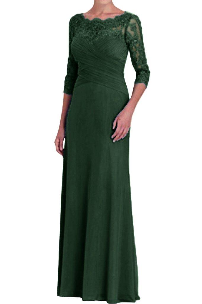 (ウィーン ブライド) Vienna Bride 披露宴用母親ドレス ロングドレス 結婚式母親用ドレス 半袖 レース フォーマルイブニングパーティー 8色 ウエディングパーティー B01N9HRDJD 25W|ダーク緑色 ダーク緑色 25W