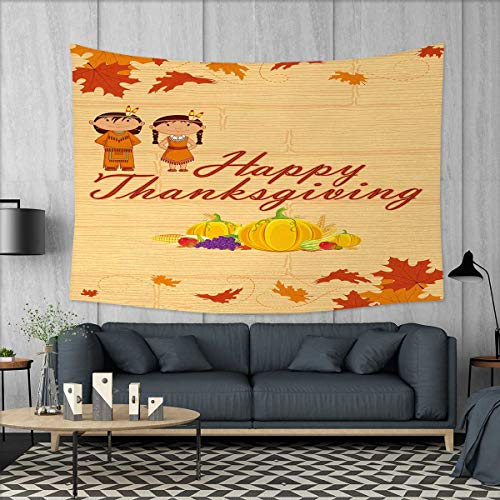 Anniutwo Kids Thanksgiving Large tablecloths Children in Native American Costume Preserving Indigenous Heritage Wall Hanging Tapestries W84 x L54 (inch) Orange Multicolor