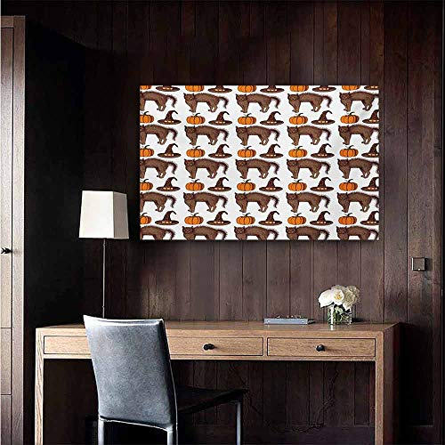 duommhome Halloween Modern Frameless Painting Seasonal Vintage Pattern with Pumpkin Squash Witch Hats and Cat Figures Bedroom Bedside Painting 35
