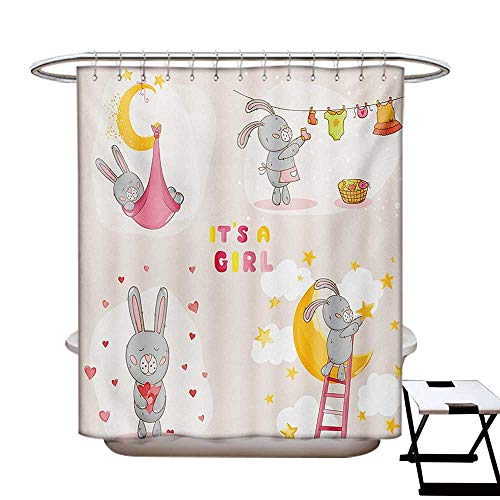 (BlountDecor Teen Girls Shower Curtains with Shower Hooks Bunny Rabbit Sleeping Doing Laundry Picking Stars Love Cartoon Art Cute Design Fabric Bathroom Set with Hooks W54 x L78 Yellow Beige)