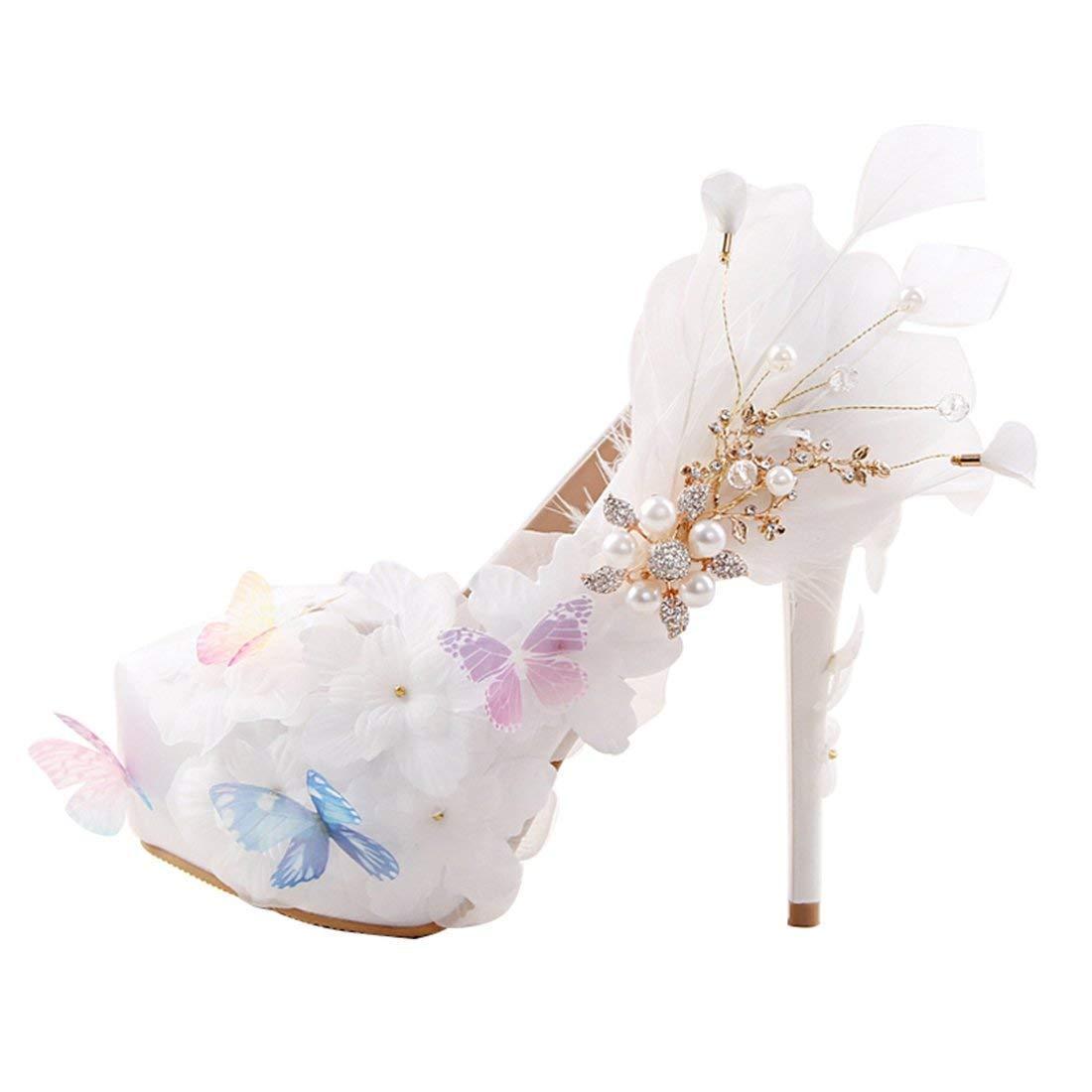 ZHRUI Damen luxuriöse Applique Platform Satin Braut Hochzeit Slip-on Schuhe (Farbe   Weiß-14cm Heel, Größe   3.5 UK)