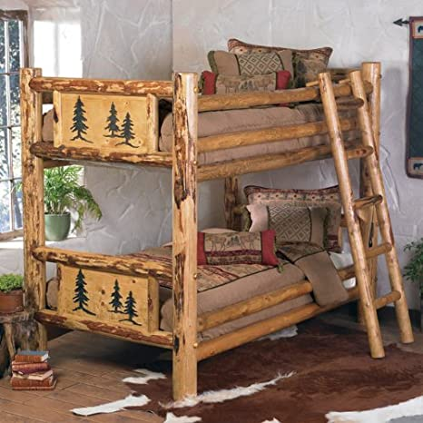 Amazon Com Rustic Bunkbed Bed Frame Country Western Cabin Log