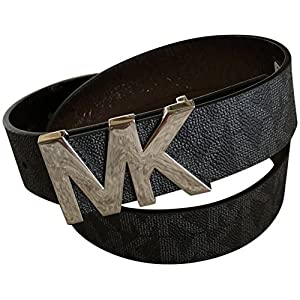 Michael Kors Womens Belt, Signature Logo Wide Belt – Black