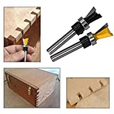 Yakamoz 2Pcs 1/4 Inch Shank Dovetail Joint Router