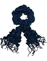 Soft Knit Layered Ruffle Fringe Scarf with Silver Thread Trim - Diff Colors