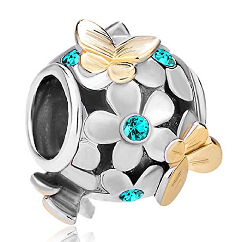 (Flying Butterfly Flower Golden 925 Sterling Silver Charm Crystal Bead Fits European Charms (Turquoise December Birthstone))