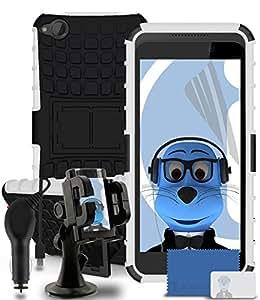 iTALKonline HTC Desire 320negro zäh fijo antigolpes resistente cargas pesadas Caso protectora con visión Stand Espacio–3capas Protector de pantalla LCD, Heavy Duty 360grados caso GreenInks coche soporte para parabrisas y 1000mAh Cargador de Coche LED pantalla y contra sobrecargas, compatible con HTC Desire 320