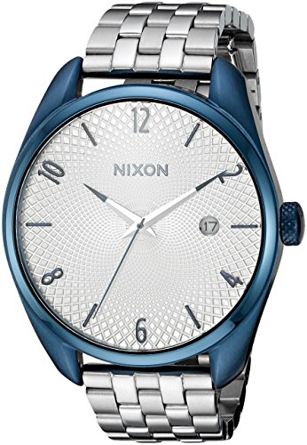 Sterling Silver Guilloche - Nixon Women's 'Bullet, Navy' Quartz Stainless Steel Watch, Color:Silver-Toned (Model: A418-1849-00)