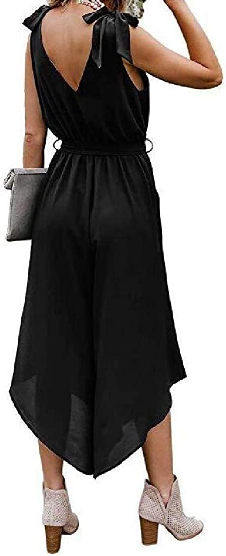 MOUTEN Women Sleeveless Bow Tie Wide-Leg V Neck Loose Solid Jumpsuit Romper