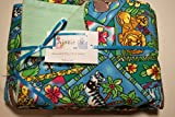 Pocket-2in1-Sheet Animals with Blue Green Flannel 2 in 1 Patented No Slip Reversible Pack n Play Play Yard Fitted Sheet Cover or Day Care Mini Crib Mattress Sheet