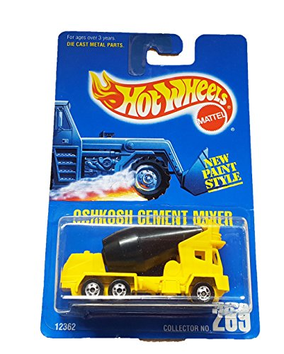 Hot Wheels - 1992 Collector No. 269 - Oshkosh Cement Mixer Yellow and Black w/ New Paint Style (Oshkosh Cement Mixer)