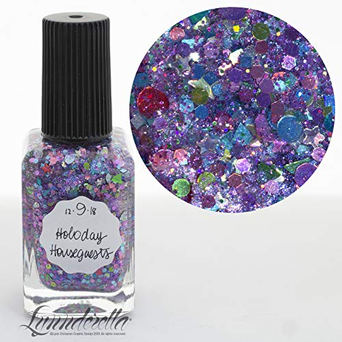 Lynnderella—2018 Advent, Holographic Multi Glitter Nail Polish—December 9-Holoday Houseguests