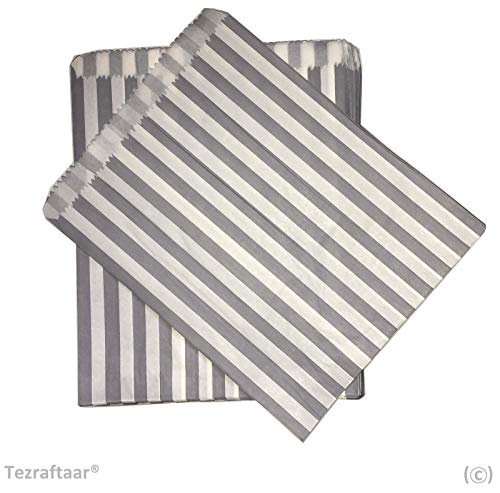 Tezraftaar® 100 7″x9″ Candy Stripe Paper Bags Sweet Favour Buffet Gift Shop Wedding Party Sweets Cake (Choose Colour) (Grey)