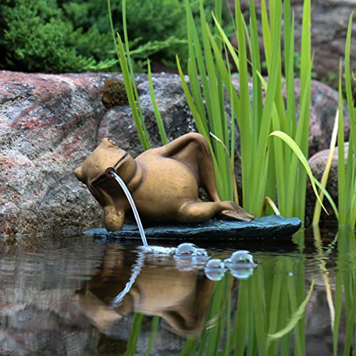 Aquascape Lazy Frog on Lily Pad Spitter Fountain for Ponds and Water Gardens | 78311