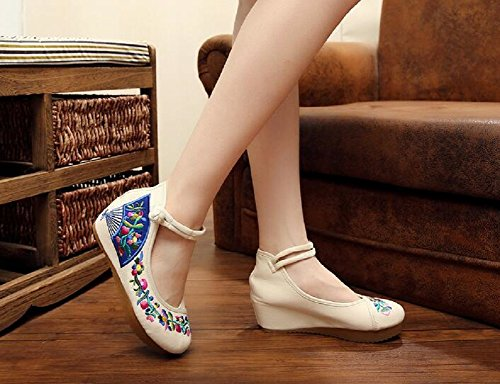 Lazutom Women Lady Vintage Chinese style Embroidery Comfortable Casual Walking Shoes Beige 8Kh1R8tF