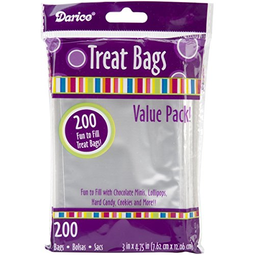 Darice 28-001V 3-Inch-by- 4-3/4-Inch Clear Treat Bag 200-Pieces (2 packs)