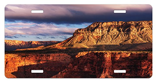 (Lunarable Canyon License Plate, Canyon in Colorado Plateau Rocks River Stream Geological Mystery Formed in Years, High Gloss Aluminum Novelty Plate, 5.88 L X 11.88 W Inches, Orange Grey)