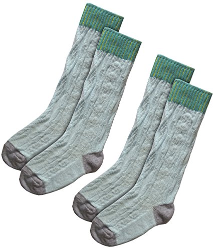 Hanna Andersson Kids Cable Knit Cotton Socks (2 Pairs) (5-7 (9-24 m), Light Blue) - European Kids Socks