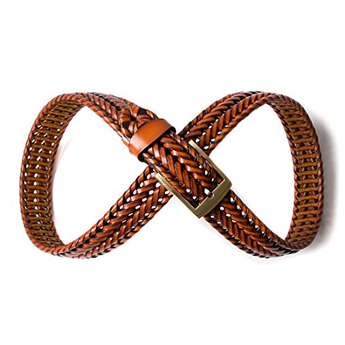 ECHAIN Men Braided Woven Genuine Leather Belt Brown (Waist:34-36, brown 4) by ECHAIN