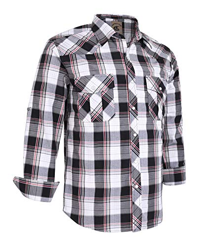 Coevals Club Men's Long Sleeve Casual Western Plaid Snap Buttons Shirt (3XL, 18#black,white) ()