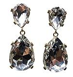 HONEYJOY Fashion Simple Water Drop Crystal Stud Earrings Big Gems Pendant Dangle Jewerly (white)