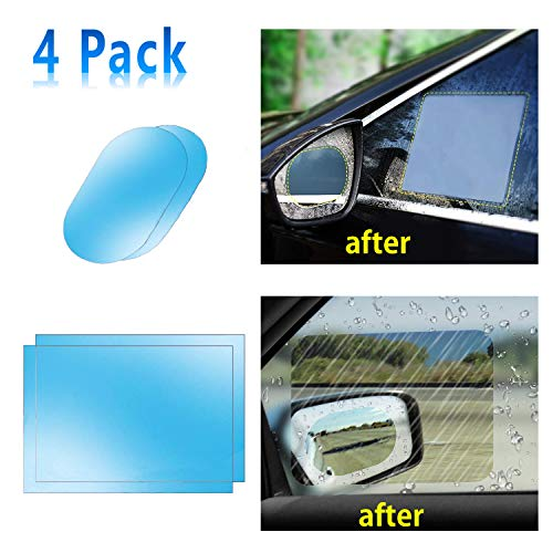 Car Side View Mirror Anti-Glare Film- Rear View Mirror HD Nano Anti Glare Anti Fog Rainproof Waterproof Membrane for Automobile Rearview Mirror and Side Window (Rec+Oval) ()